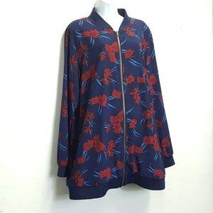 justfab 2x floral bomber jacket